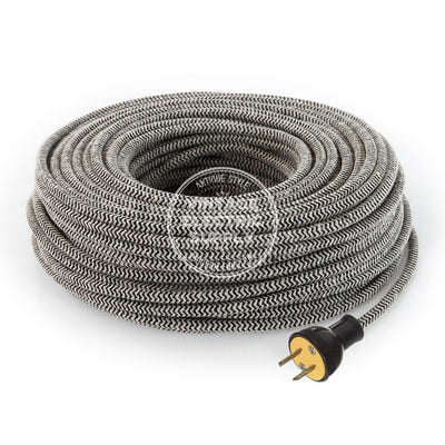 Canvas & Black Zigzag Linen Re-Wire Kit - Vintage Electric Supply
