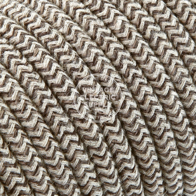Canvas & Brown Zigzag Linen Electric Cable - Vintage Electric Supply