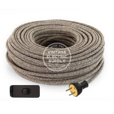Canvas & Brown Zigzag Linen Re-Wire Kit with Switch - Vintage Electric Supply