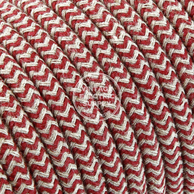 Canvas & Cherry Zigzag Linen Electric Cable  - Vintage Electric Supply