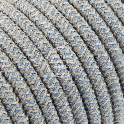 Canvas & Sky Zigzag Linen Electric Cable  - Vintage Electric Supply