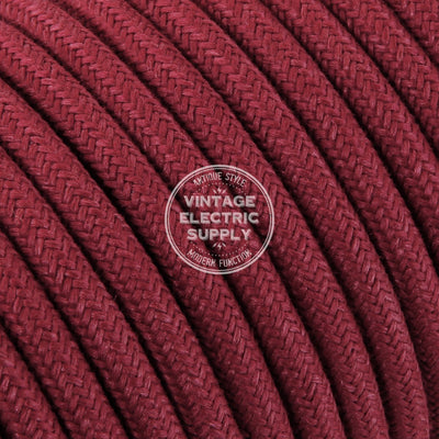 Cherry Raw Yarn Electric Cable  - Vintage Electric Supply