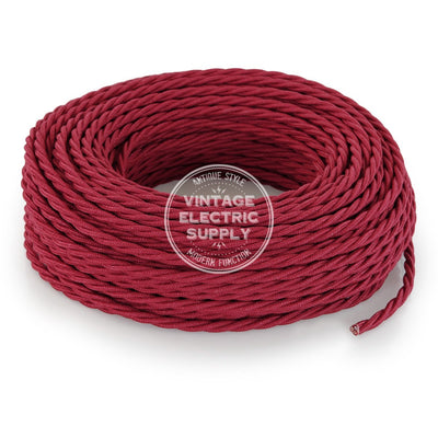 Cherry Raw Yarn Twisted Electric Cable  - Vintage Electric Supply