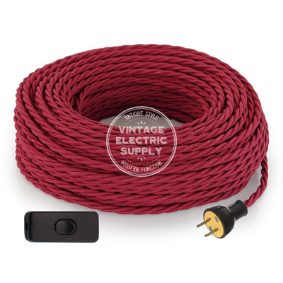 Cherry Raw Yarn Twisted Re-Wire Kit with Switch - Vintage Electric Supply