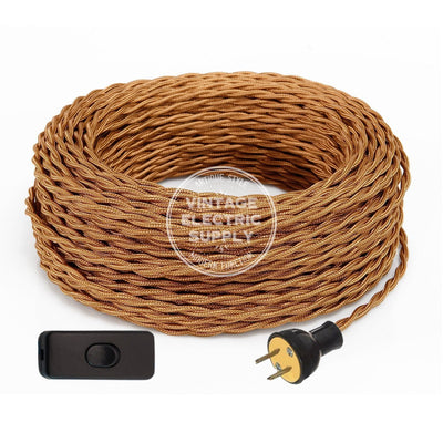 Cognac Rayon Twisted Re-Wire Kit with Switch - Vintage Electric Supply
