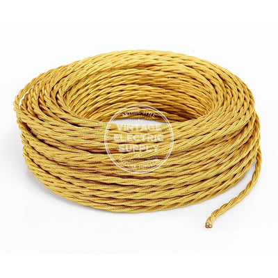 Gold Rayon Twisted Electric Cable  - Vintage Electric Supply