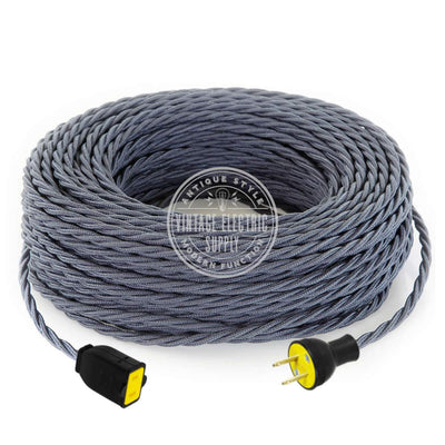 Graphite Raw Yarn Twisted Extension Cord - Vintage Electric Supply