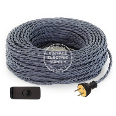 Graphite Raw Yarn Twisted Re-Wire Kit with Switch - Vintage Electric Supply