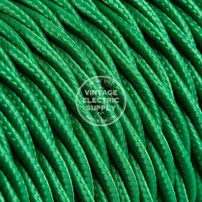 Green Rayon Twisted Electric Cable  - Vintage Electric Supply