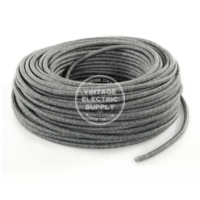 Grey Linen Electric Cable  - Vintage Electric Supply