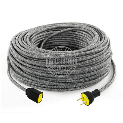Grey Linen Extension Cord - Vintage Electric Supply