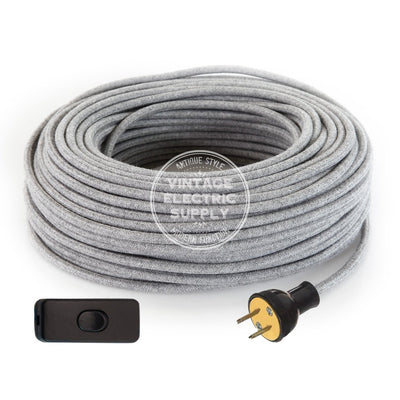 Grey Raw Yarn Re-Wire Kit with Switch - Vintage Electric Supply