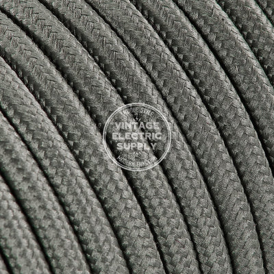 Grey Rayon Electric Cable  - Vintage Electric Supply