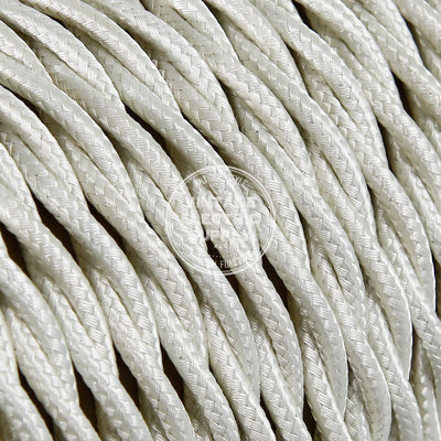 Ivory Rayon Twisted Electric Cable  - Vintage Electric Supply