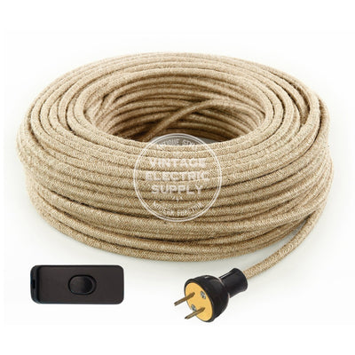 Natural Jute Re-Wire Kit with Switch - Vintage Electric Supply