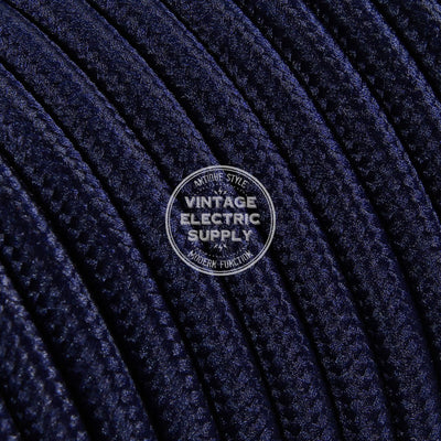 Navy Rayon Electric Cable  - Vintage Electric Supply
