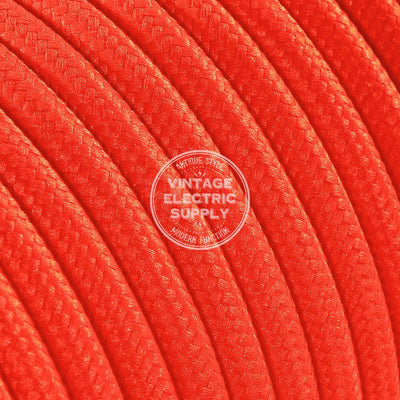 Neon Orange Rayon Electric Cable  - Vintage Electric Supply