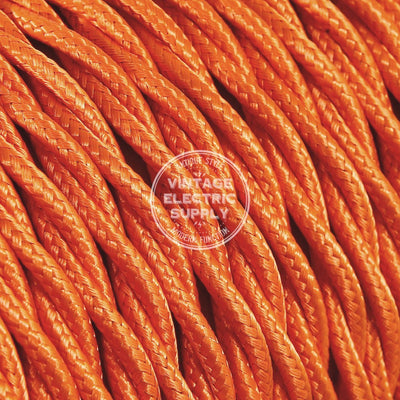 Orange Rayon Twisted Electric Cable  - Vintage Electric Supply