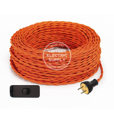 Orange Rayon Twisted Re-Wire Kit with Switch - Vintage Electric Supply
