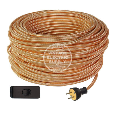 Polished Copper Rayon Industrial Re-Wire Kit with Switch - Vintage Electric Supply