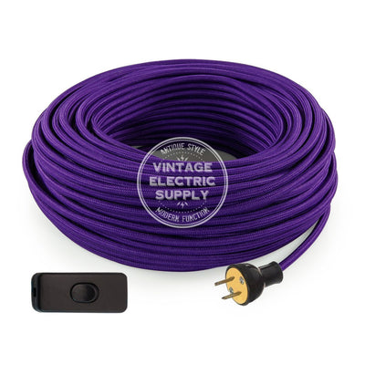 Purple Rayon Re-Wire Kit with Switch - Vintage Electric Supply