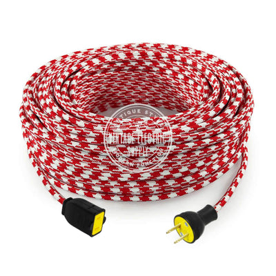 Red Houndstooth Rayon Extension Cord - Vintage Electric Supply