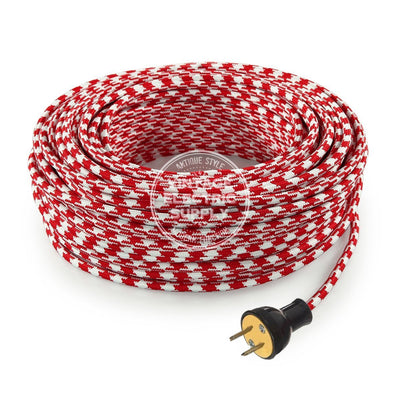 Red Houndstooth Rayon Re-Wire Kit - Vintage Electric Supply