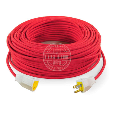 Red Rayon Extension Cord with Ground - Vintage Electric Supply