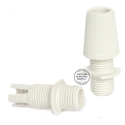 White Thermoplastic Socket with Screw Ring - Vintage Electric Supply
