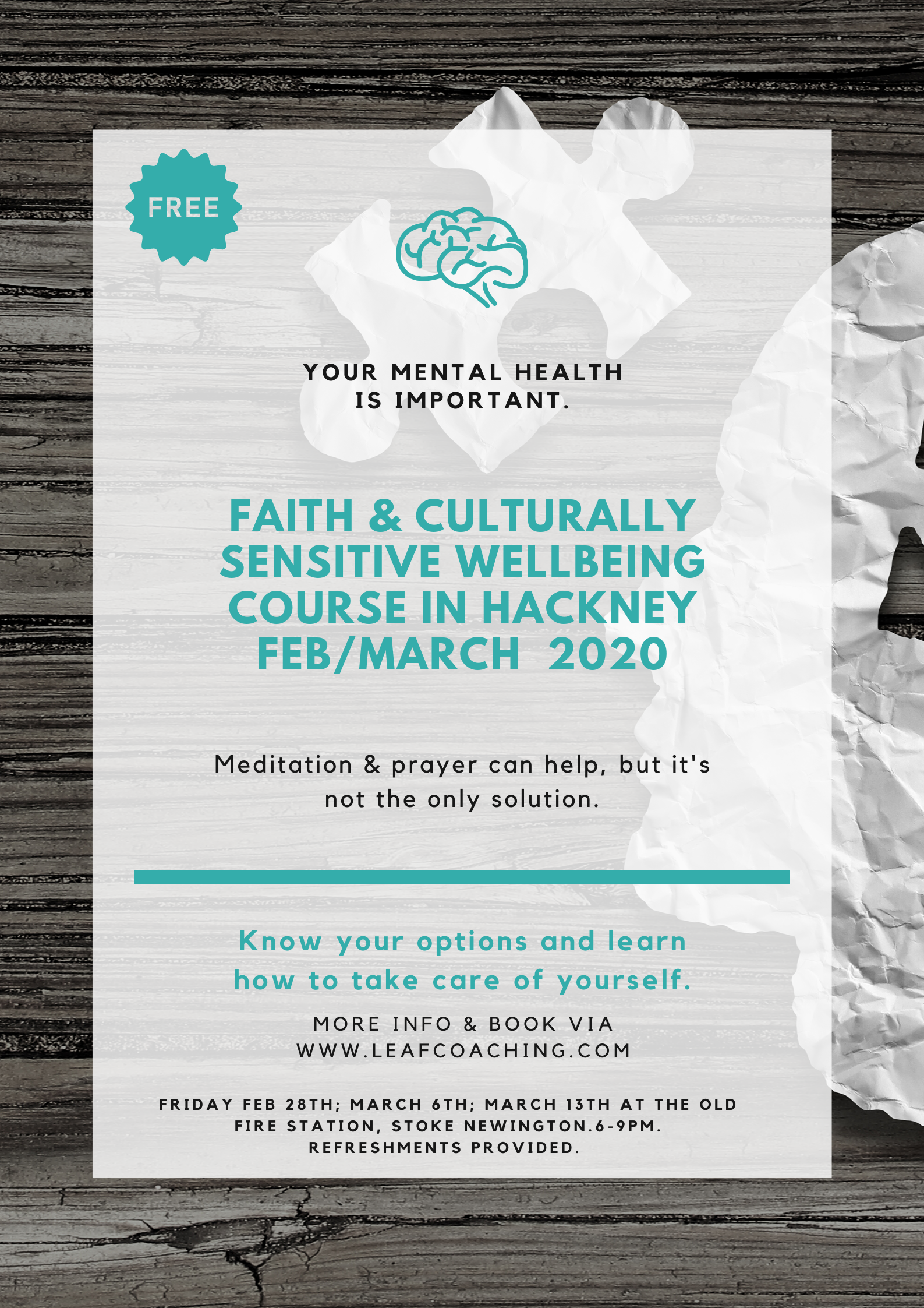 Think Well, Feel Well: A 3 session free course on Faith & Culturally Sensitive Wellbeing