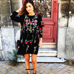 Floral embroidered long sleeve dress