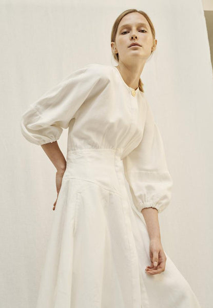 LE KASHA Helwan Linen Dress cream