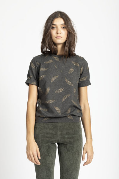 Sophia Lee Milo T-Shirt / Grey gold feathers - Sophia Lee