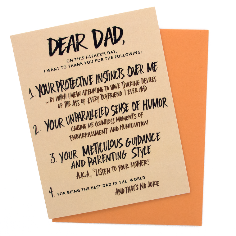 Appreciation List Fathers Day Card