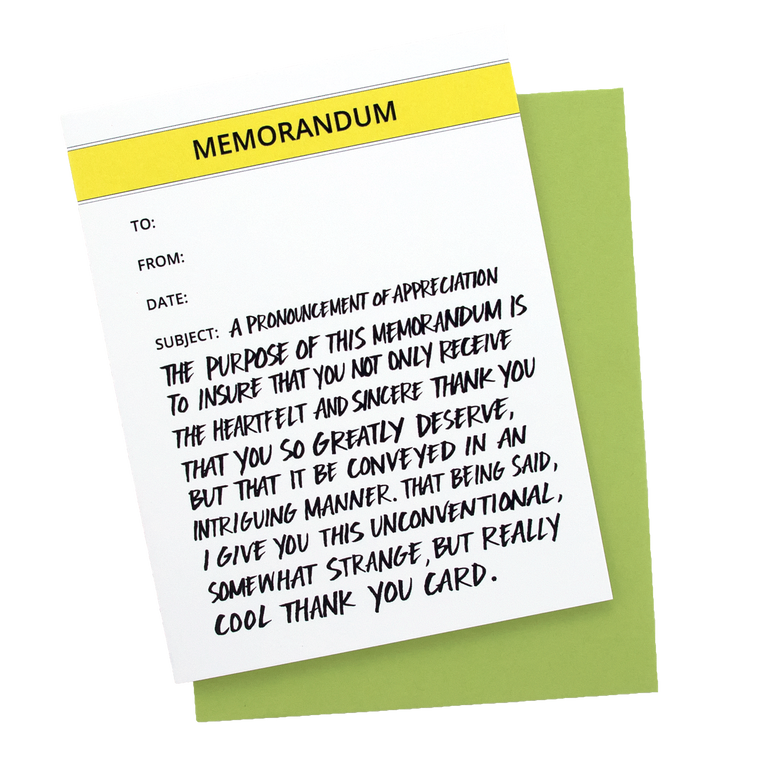Memorandum Thank You Card