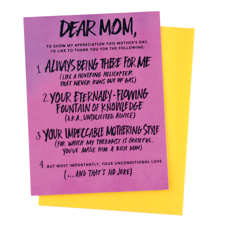Appreciation List Mother's Day Card