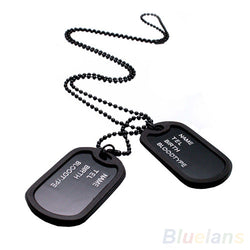 2 Dog Tags Army Style On Black Chain. Mens Pendant Necklace Jewelry
