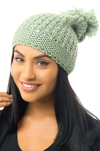 Cable-Knit Pom-Pom Beanie Green