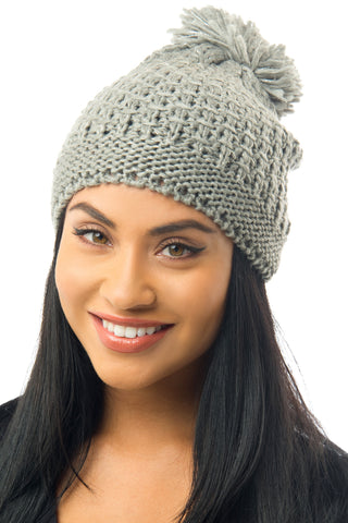 Cable-Knit Pom-Pom Beanie Gray