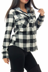 Elle Black And White Plaid Top