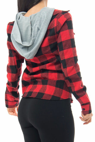 Elle Red/Black Plaid Top