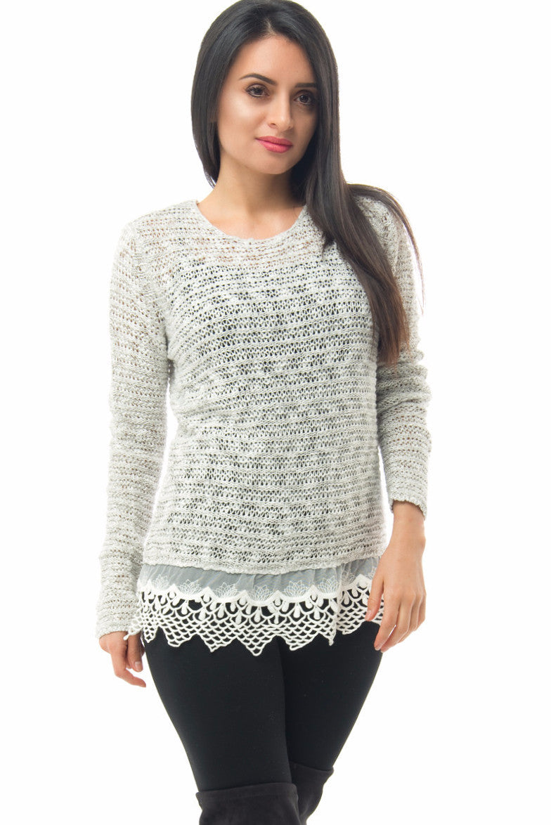 Camilla Light Gray Sweater With Lace