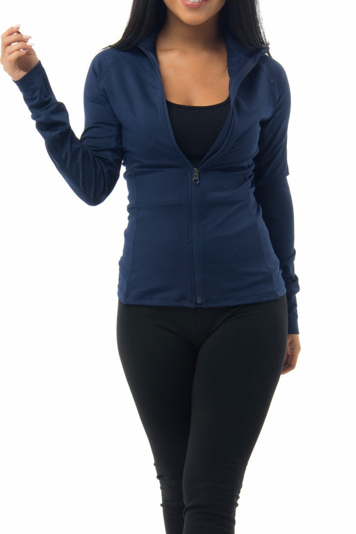 Renee Navy Full Zip Fleece