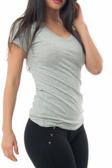 Basic Gray Short Sleeve Top