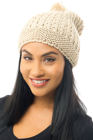 Cable-Knit Pom-Pom Beanie Light Brown