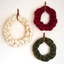 Large Chunky Knitted White Wreath with White Bow