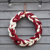 Large Chunky Knitted Candy Cane Stripe Wreath with Red Bow