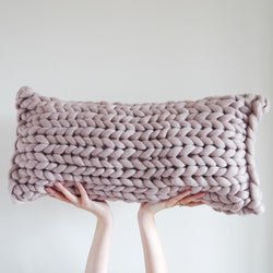 Mink Blush Oblong Cushion by Lauren Aston