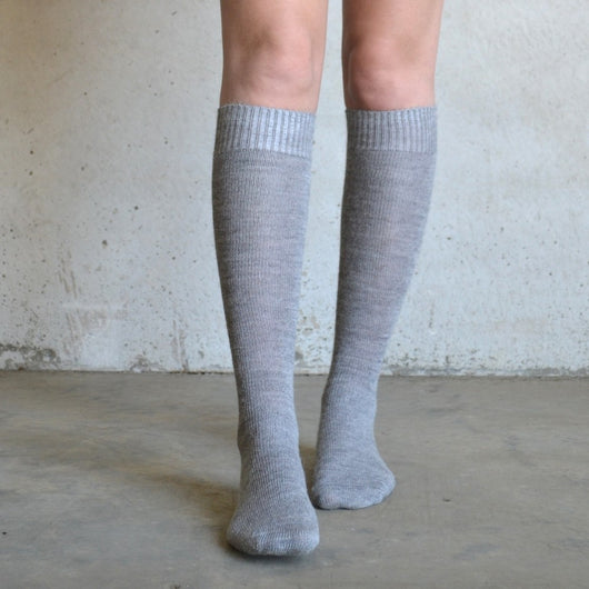 Soft Grey Long Alpaca Socks