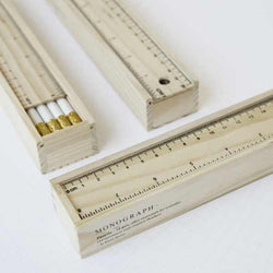 Wooden Ruler Box with 12 White Pencils with Eraser by Monograph DK